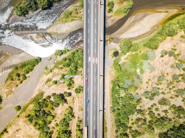 luftfoto af puente llacolen broen region