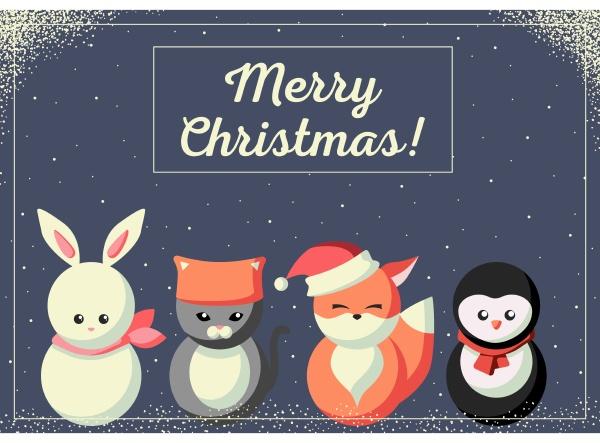 julekort, med, søde, dyr - 27623593