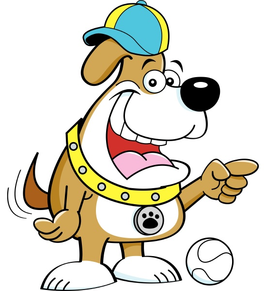 cartoon, illustration, of, dog, pointing - 28215633
