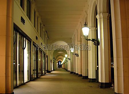 night photograph columns goal passage gate