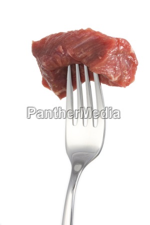 piece of meat on a forkisolated