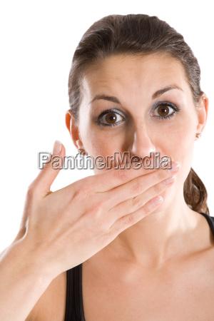 kvinde hand mund bange fejltagelse overrasket