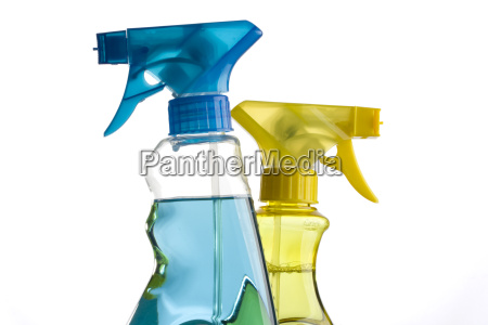 blue and yellow spray bottles
