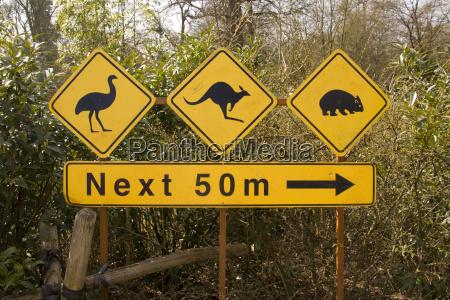 sign on free roaming animals