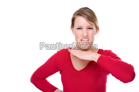 donna minaccia gesto minacciare rosso testa