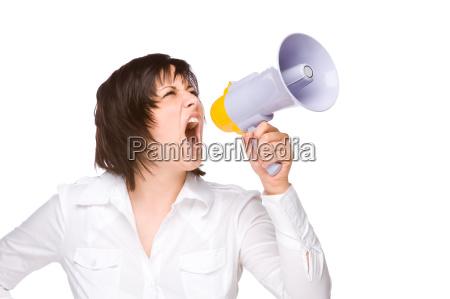 forretningskvinde karriere kvinde irriteret megafon volumen