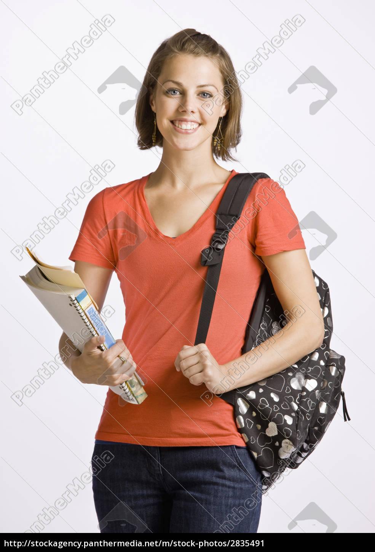 studerende, transporterer, rygsæk, og, bøger - 2835491