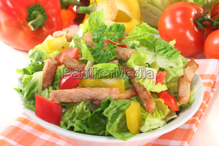 blandet salat med kalkun strimler
