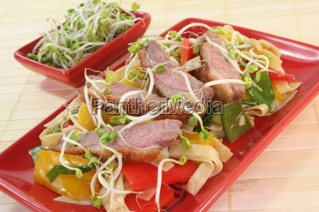 nudler and vegetabilsk fjerkrae mad maltid