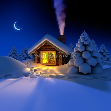 lille hus i skoven pa nytarsaften