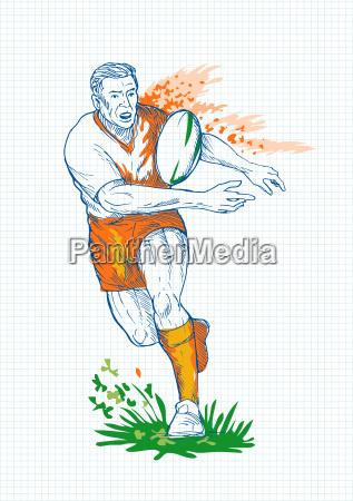 rugby spiller korer og passerer bold