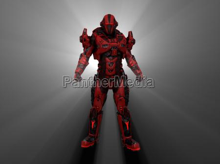 soldat futuristisk mekanisk armering android mekaniske