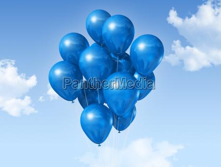 bla balloner pa en bla himmel