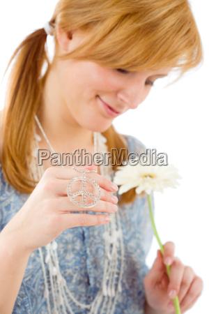 romantic young woman gerbera daisy piece