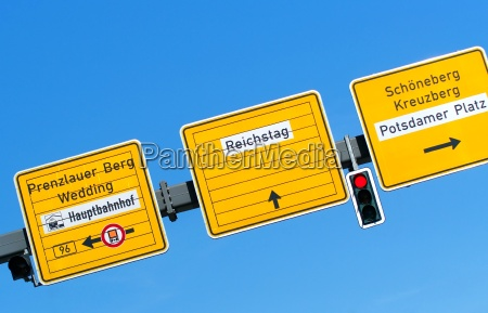 street sign and signpost potsdamer platz