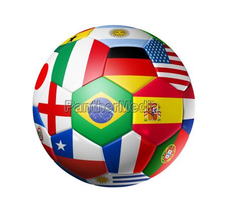fodbold fodbold med verdens hold flag