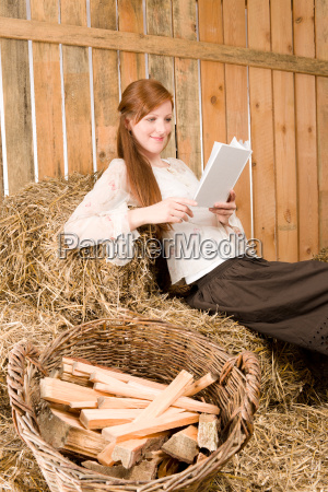 young romantic woman read book in