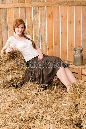young healthy woman hold glass of