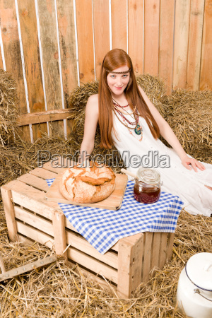 redhead hippie young woman have organic