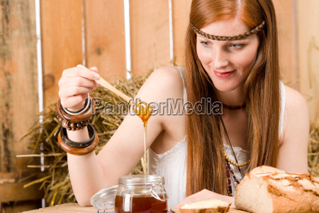 red hair young hippie woman have