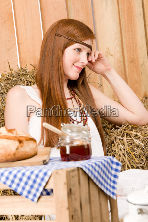 red hair young hippie woman breakfast
