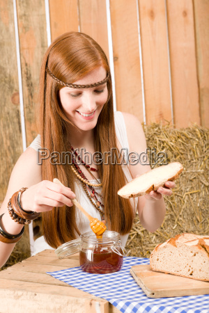redhead hippie young woman have breakfast