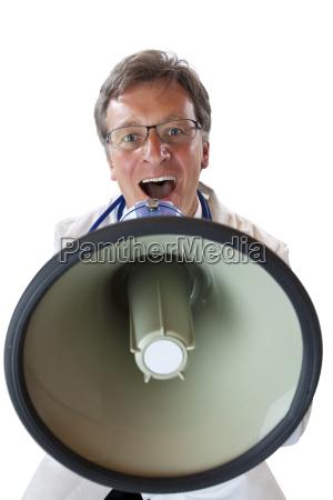 laege medic doktor meddelelse megafon raber