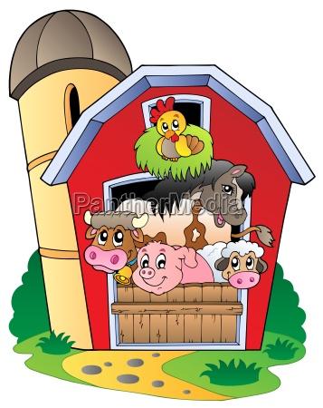 barn med forskellige husdyr