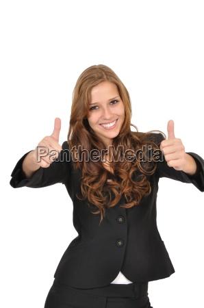 forretningskvinde i jakkesaet med to tommelfingre