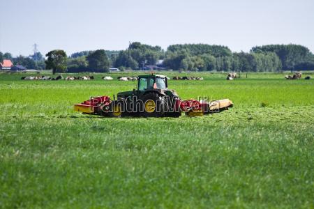 landmand pa traktor slaning graes om