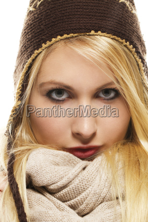 beautiful blond woman in winter clothing