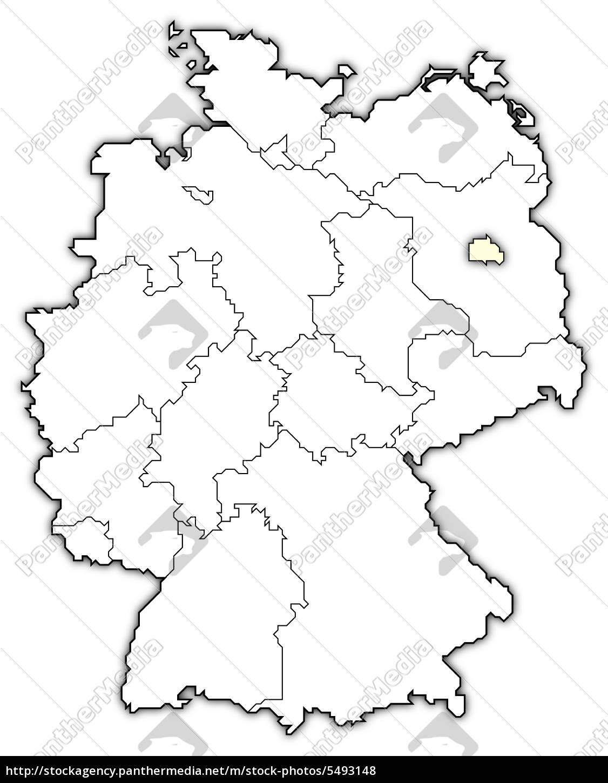 Kort Over Tyskland Berlin Fremhaevet Stockphoto 5493148