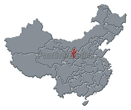 kort over kina ningxia fremhaevet