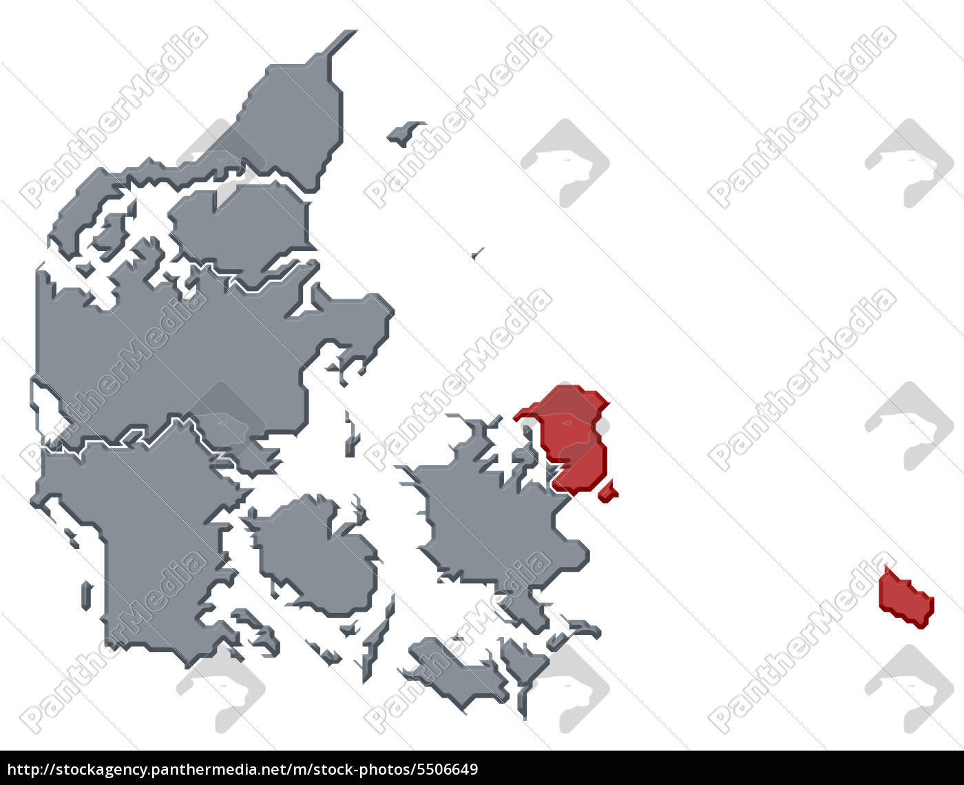 Kort Over Danmark Region Hovedstaden Fremhaevet Royalty Free
