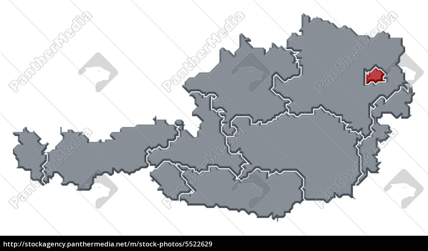 Kort Over Ostrig Wien Fremhaevet Royalty Free Image 5522629