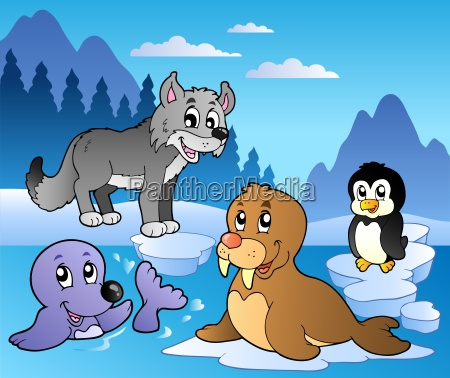 vinter scene med forskellige dyr 2