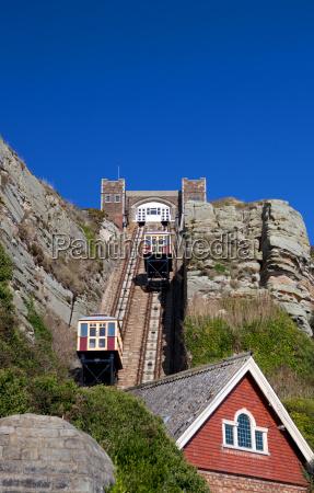 funicular tog klippe jernbane sporvogn hastings