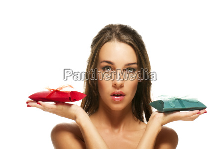 beautiful woman holding red and green