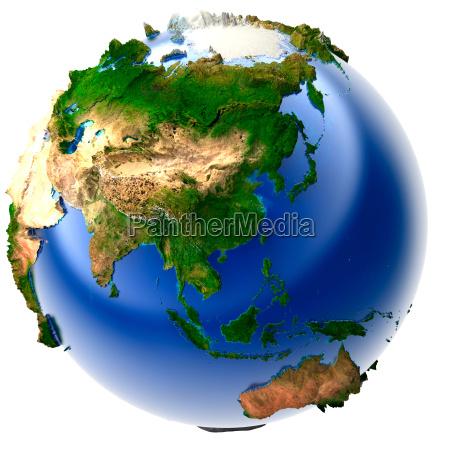 asien kina relief kloden jorden sfaere