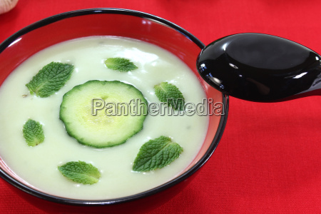 asian iced cucumber soup with garlic