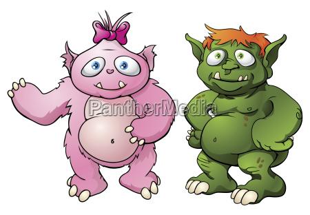 cute monster tegneseriefigurer