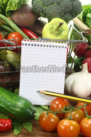 shopping list with pencil basket and