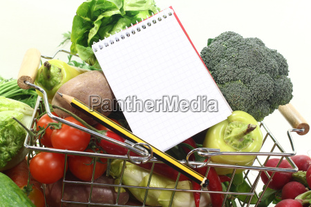shopping cart with pencil and basket