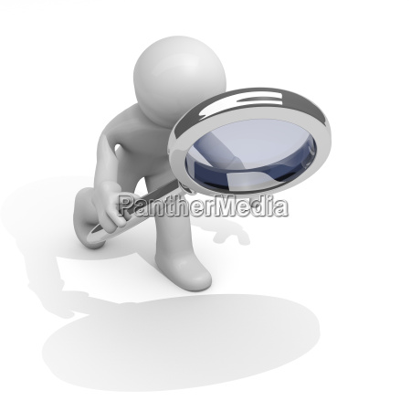 man with magnifying glass 3d image