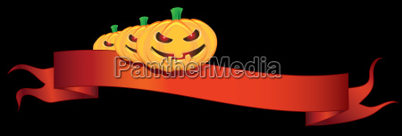 ribbon with halloween pumpkins