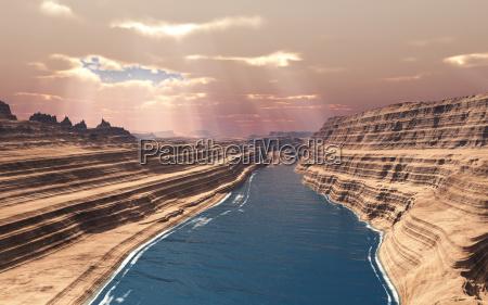 solstraler sten stenmasse stenlag klippe kloft