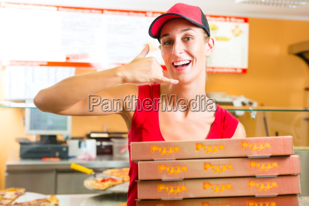 levering, service-kvinde, bedrift, pizza, kasser - 8378135