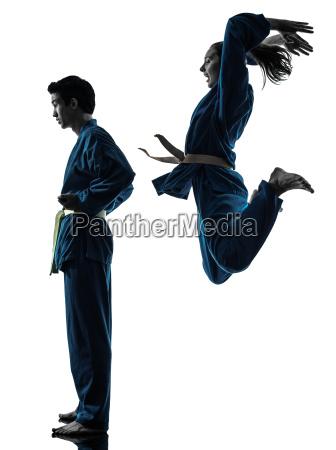 karate vietvodao kvinde par silhuet kampsport