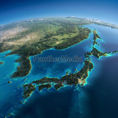 detaljeret jord japan og korea