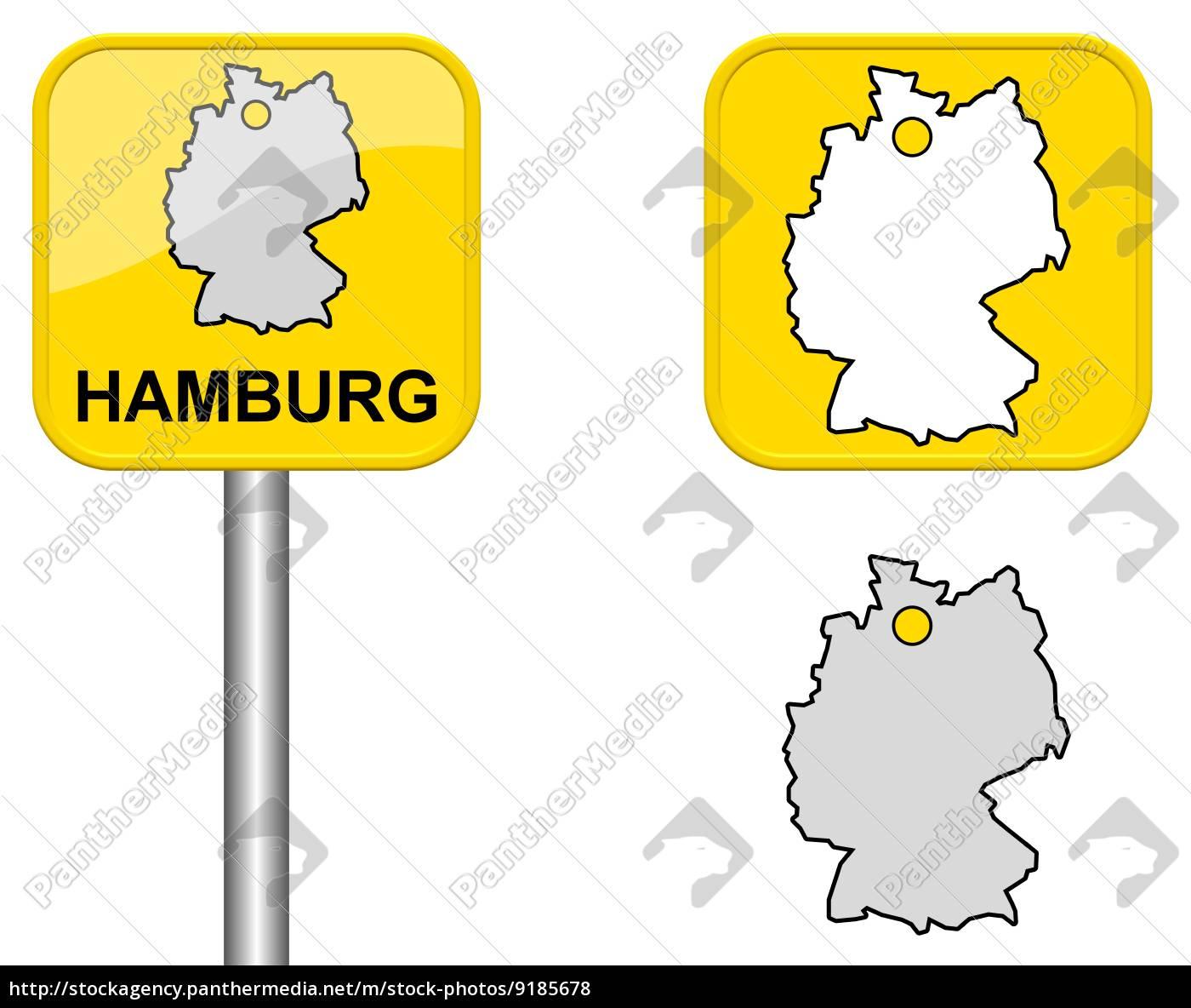 Lokalt Skilt Kort Over Tyskland Og Knap I Hamburg Stockphoto